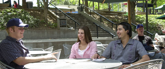 Students in the quad area